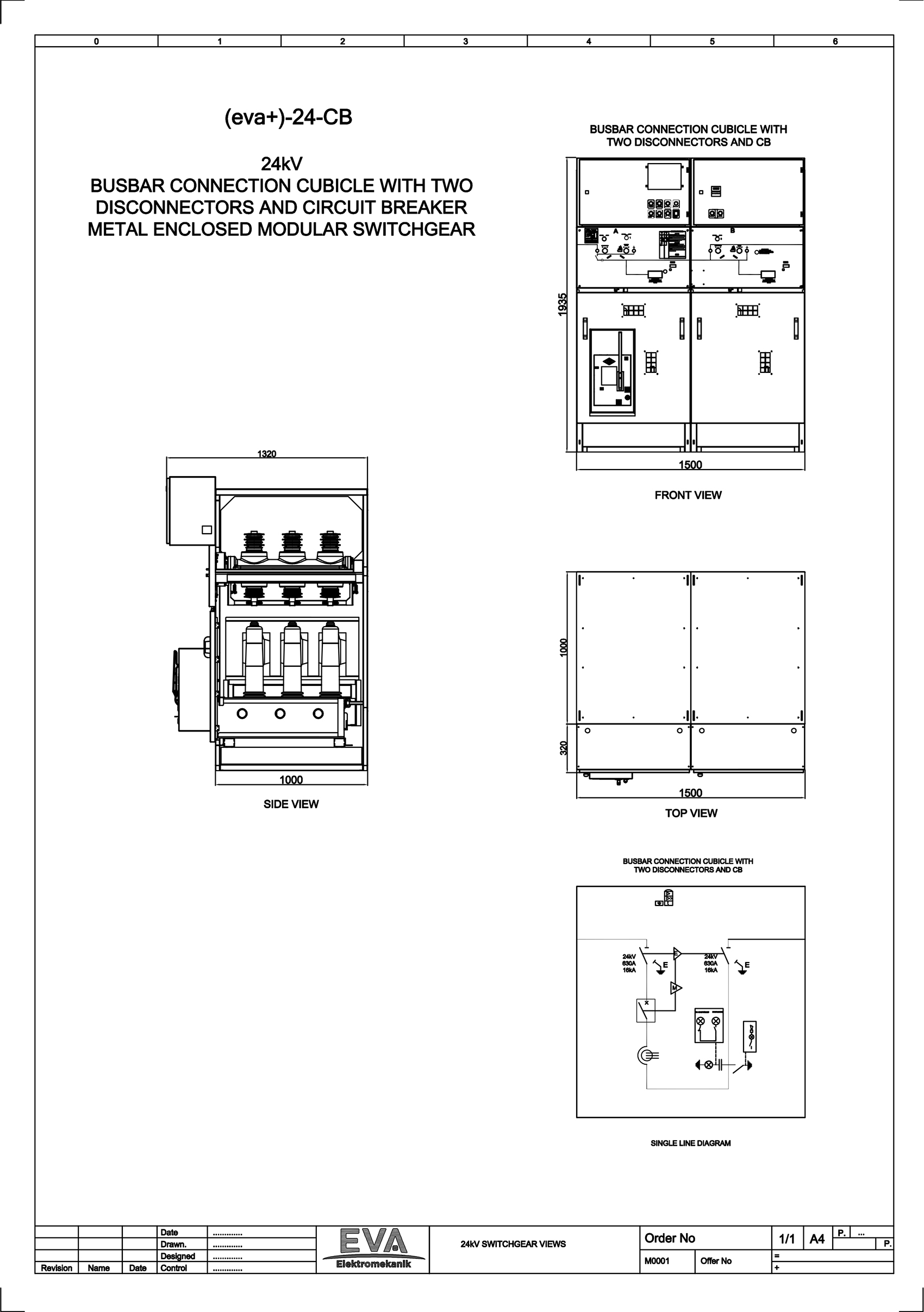 Busbar Connection Cubicle with Two Disconnectors and Circuit Breaker (CB)