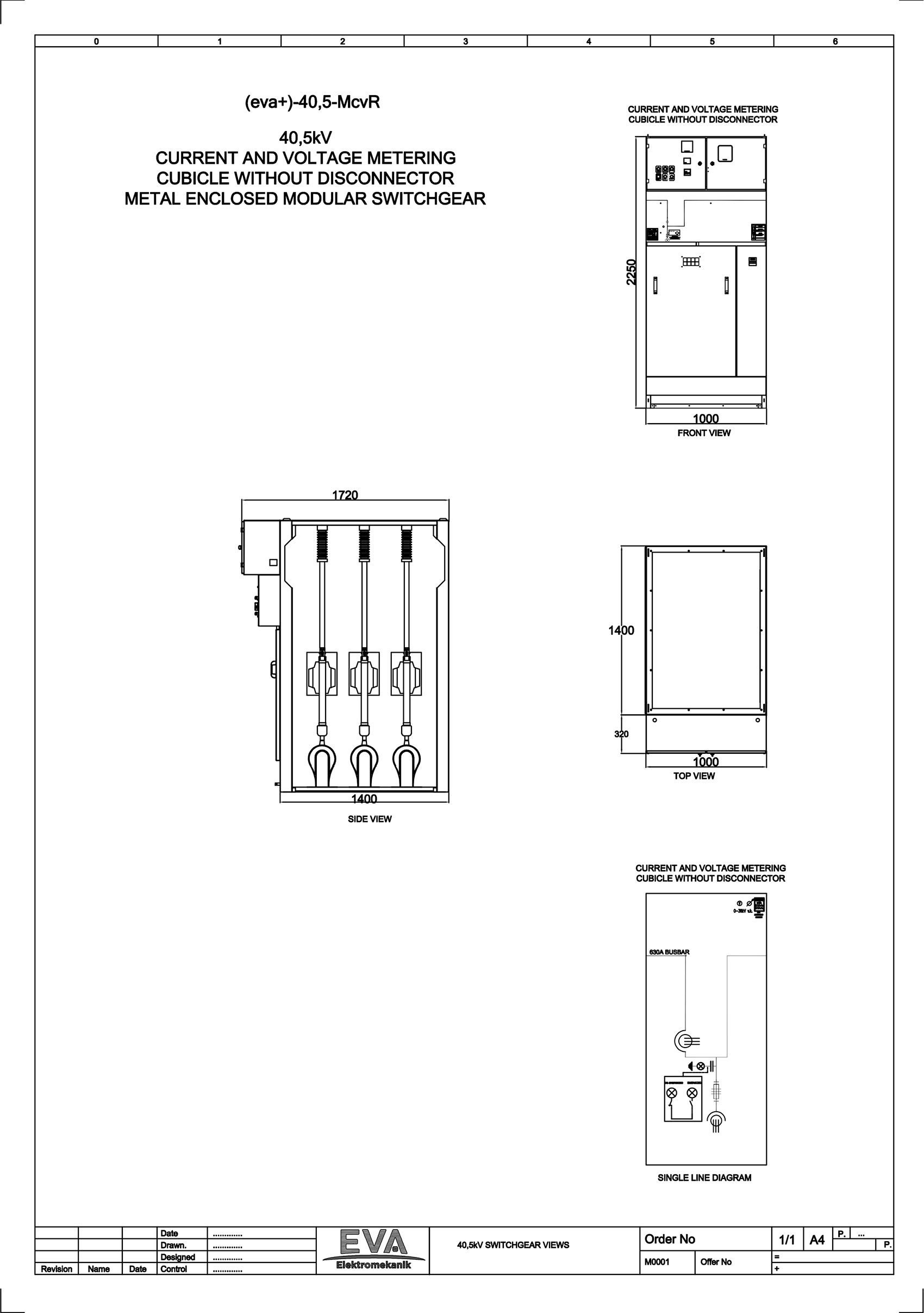 Current and Voltage Metering Cubicle without Disconnector