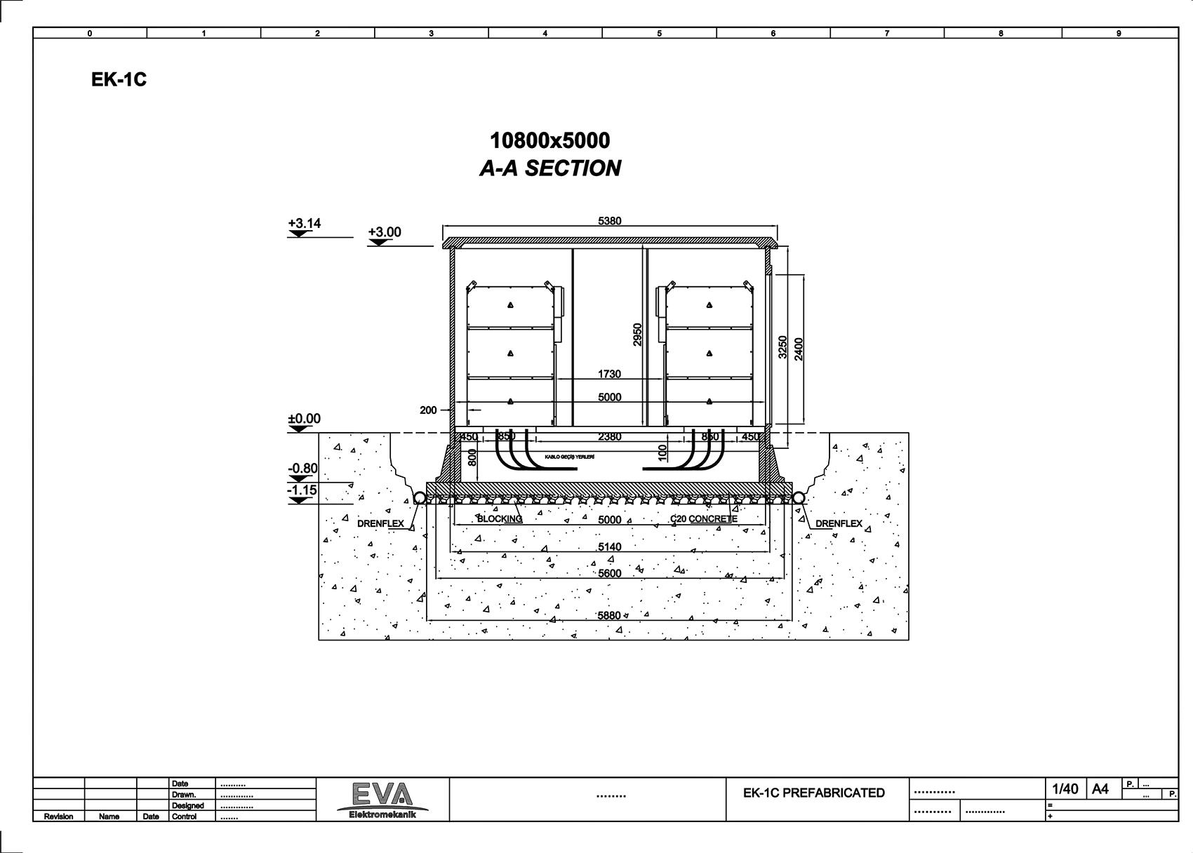 Prefabrik Beton Köşk 10.800x5.000x3.140mm